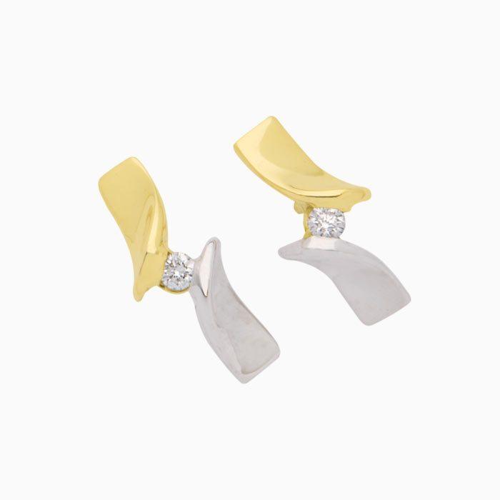 capri oorknoppen goud met diamant