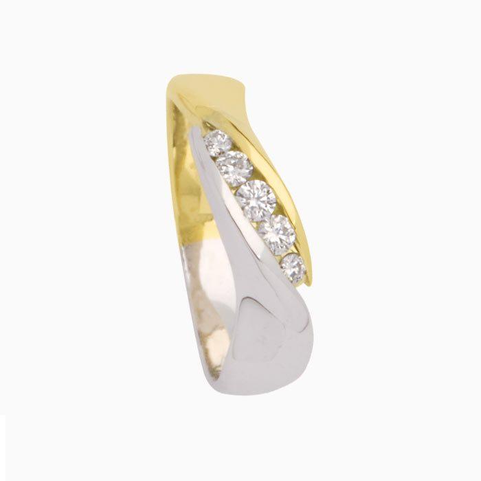 Capri ring goud met diamant 5 steens