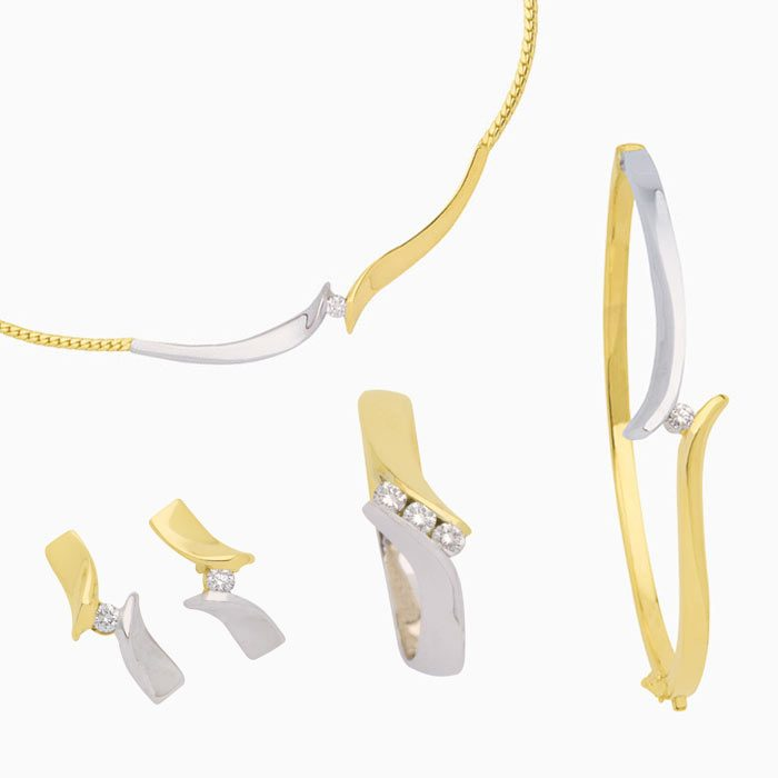 Capri set gouden sieraden met diamant