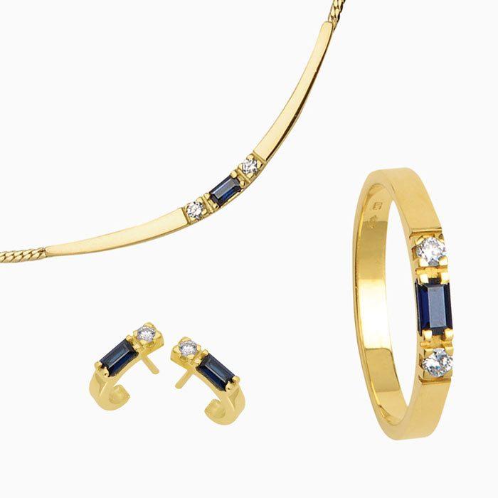 1014 collectie baguette gopuden sieraden met diamant en saffier of robijn