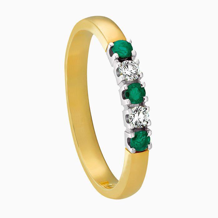 m101 gouden ring met smaragd en diamant