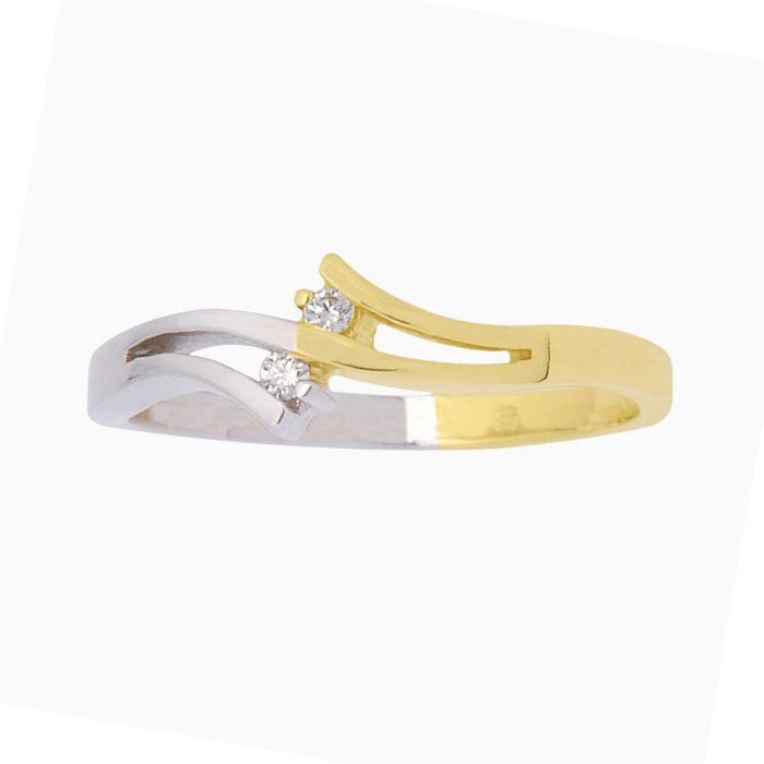 Calais-ring goud met diamant liggend