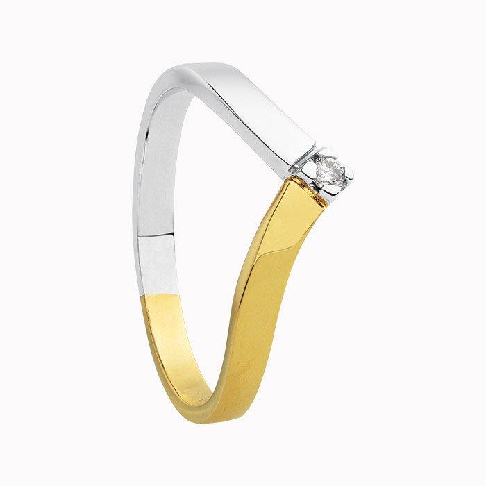 Gouden ring met 0,03 crt diamant