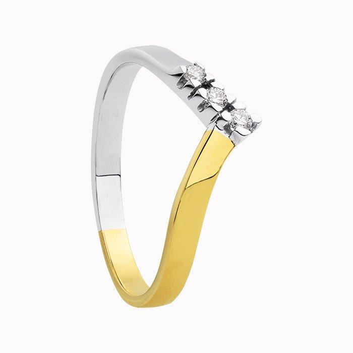 Gouden ring met 0,09 crt diamant