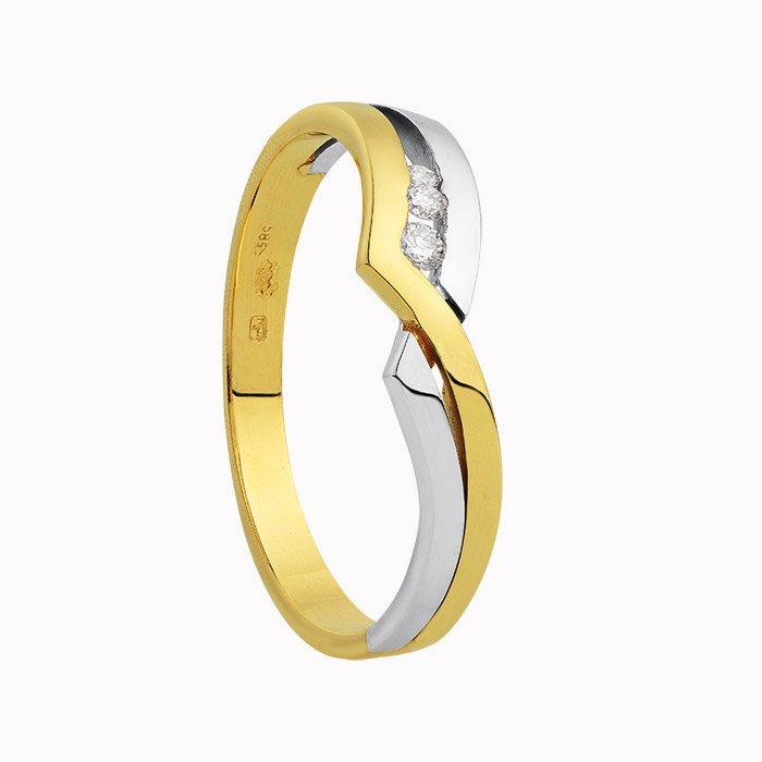 gouden ring met 0,07 crt diamant