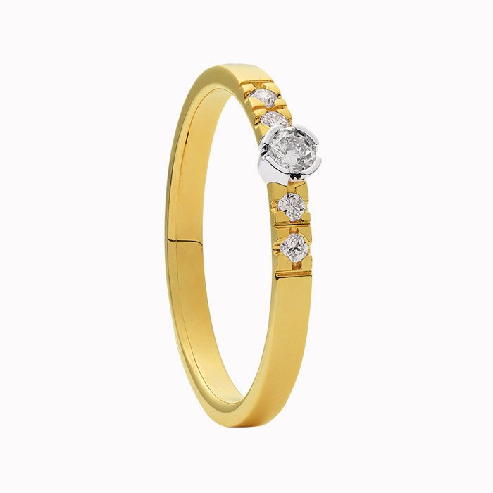 Gouden ring met 0,13 crt diamant