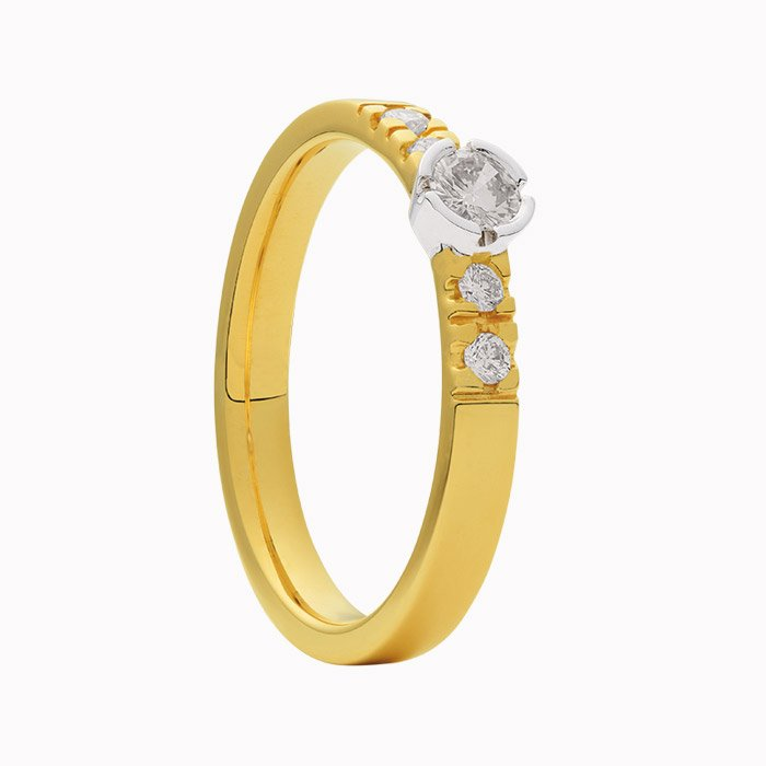 Gouden ring met 0,23 crt diamant