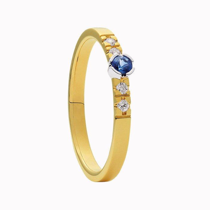 Gouden ring met diamant en saffier