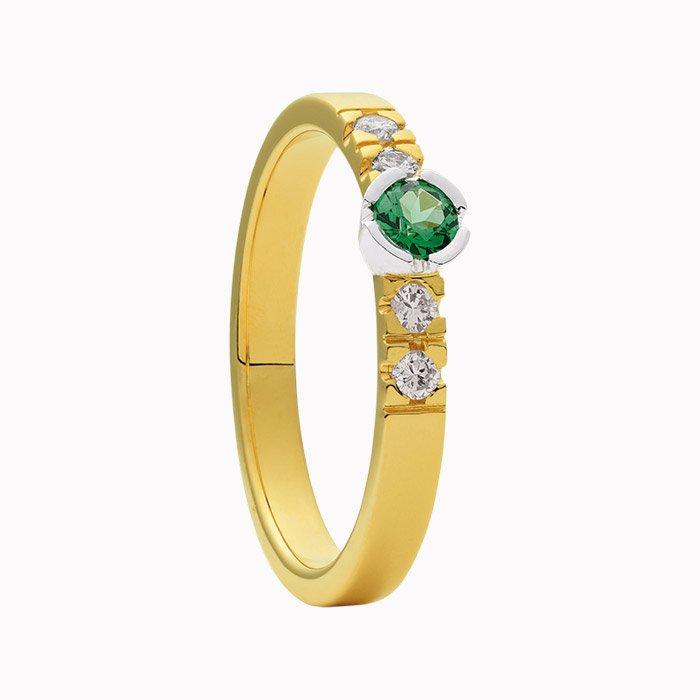 Gouden ring met diamant en tsavoriet