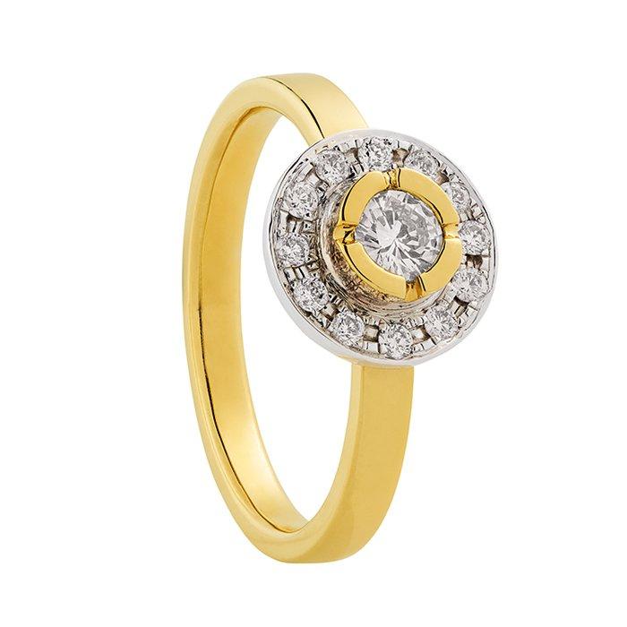 Gouden ring met 0,38 crt. diamant